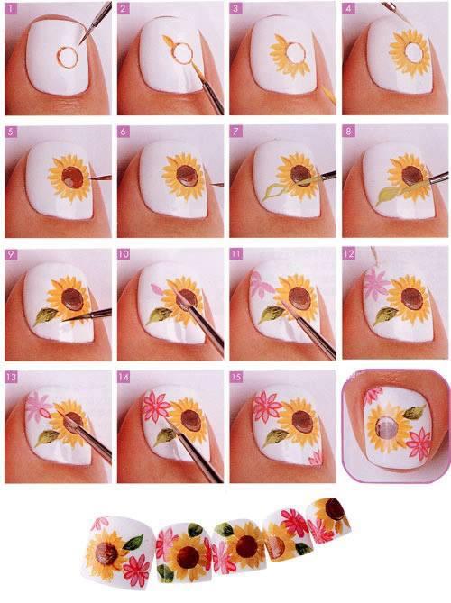 19 Diseños De Uñas De Flores Paso A Paso ε Diseños De