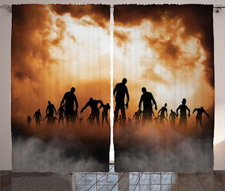 Image: Ambesonne Halloween Decorations Collection, Zombies Dead Men Body Walking in the Doom Mist at Dark Night Sky Haunted Decor, Living Room Bedroom Curtain 2 Panels Set, 108 X 90 Inches, Orange Black