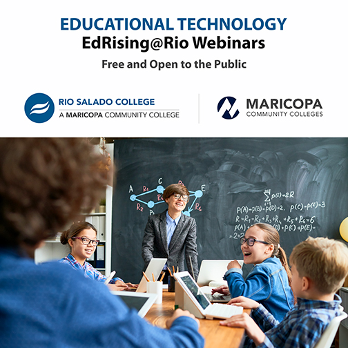 Alt text: Poster for webinars.  Image of educators in a classroom working with young k-12 students using computer devices in a conventional classroom