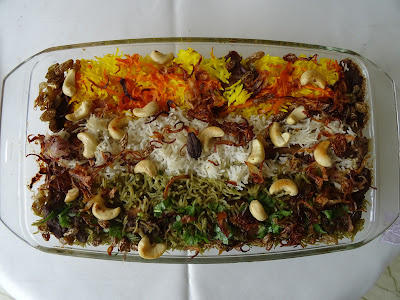 Tri-colour biryani