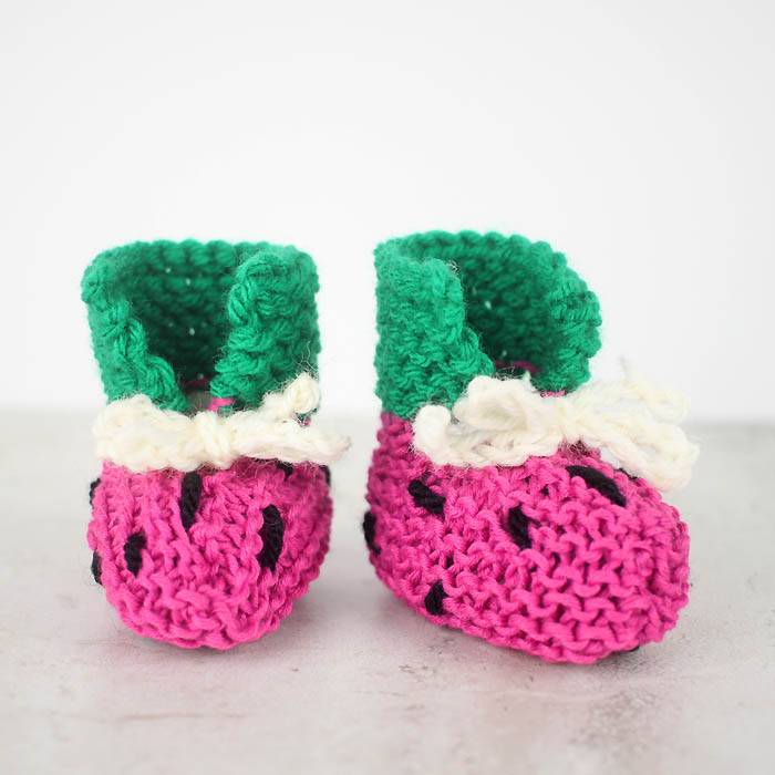 How To Follow A Knitting Pattern : EASY Watermelon Baby Booties Free Knitting Pattern - Gina Michele