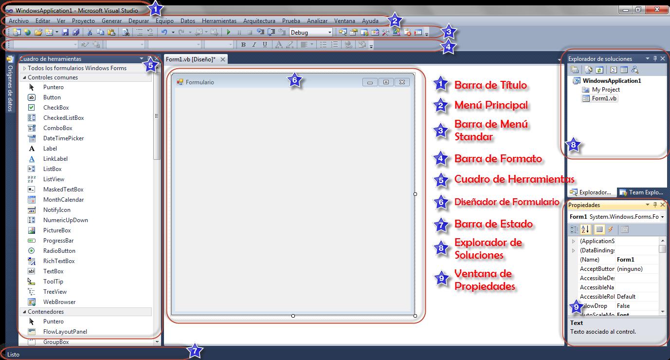 Entorno de Visual Basic 2010