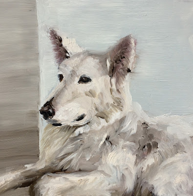 Swiss shepherd dog painting by Philine van der Vegte