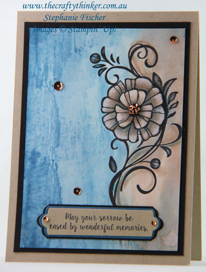 #cardmaking, #stampinup, #watercolourbackground, sympathy card, Falling Flowers, Watercolour background, #thecraftythinker, Stampin' Up Australia Demonstrator, Stephanie Fischer, Sydney NSW