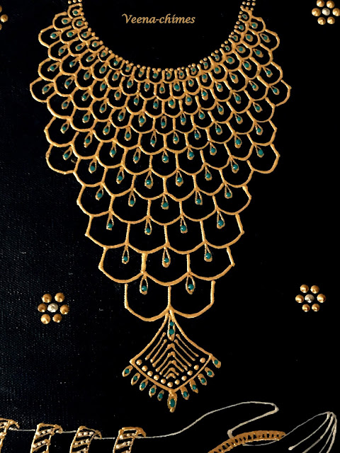 Indian Jewelry design- -Fabric Paint Art on Canvas- Doodling