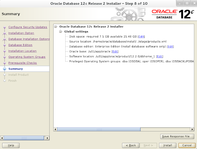 Installing oracle database 12c r2 on Linux wizard screen 7