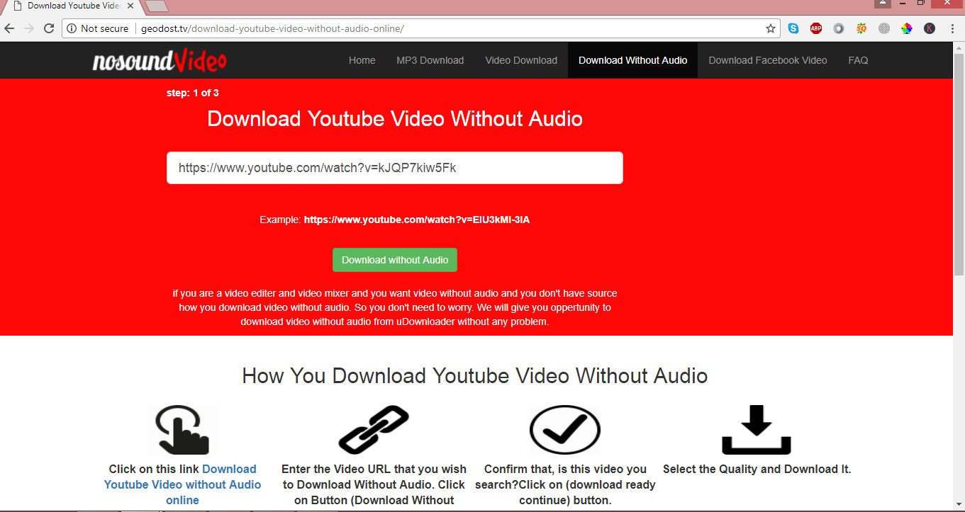 Download youtube video without audio online
