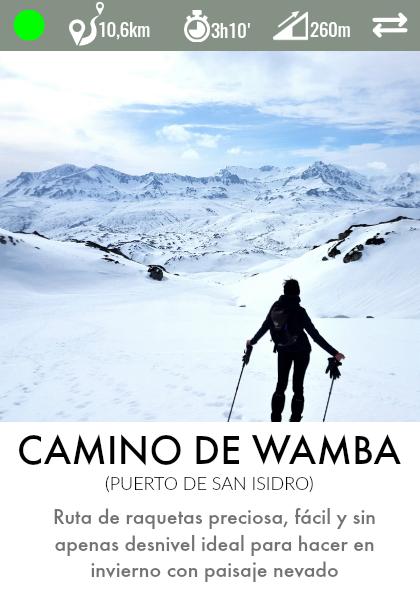 ruta raquetas camino de wamba puerto de san isidro