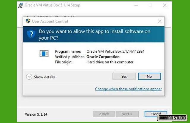 INSTALASI VIRTUAL BOX: Layar Pop Up Konfirmasi Install VirtualBox.