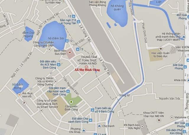 Vị trí chung cư AZ Sky Định Công