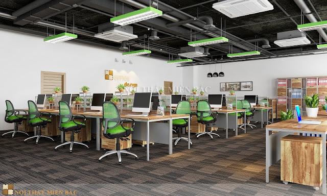 Để xóa bỏ không khí căng thẳng, mệt mỏi các nhà thiết kế nội thất văn phòng làm việc đã tận dụng những khoảng trống ở bàn làm việc hay sàn nhà để bài trí những chậu cây xanh tự nhiên