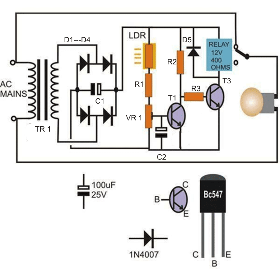 Simple Automatic Street Light System Triac Circuits Projects 10 Day Night Circuit Using Transistors And Relay