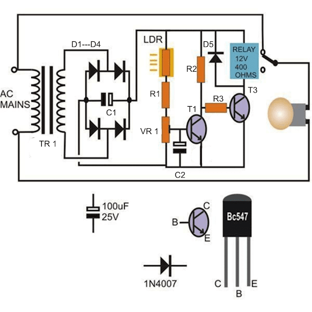 simple day night automatic street light circuit using transistors and relay