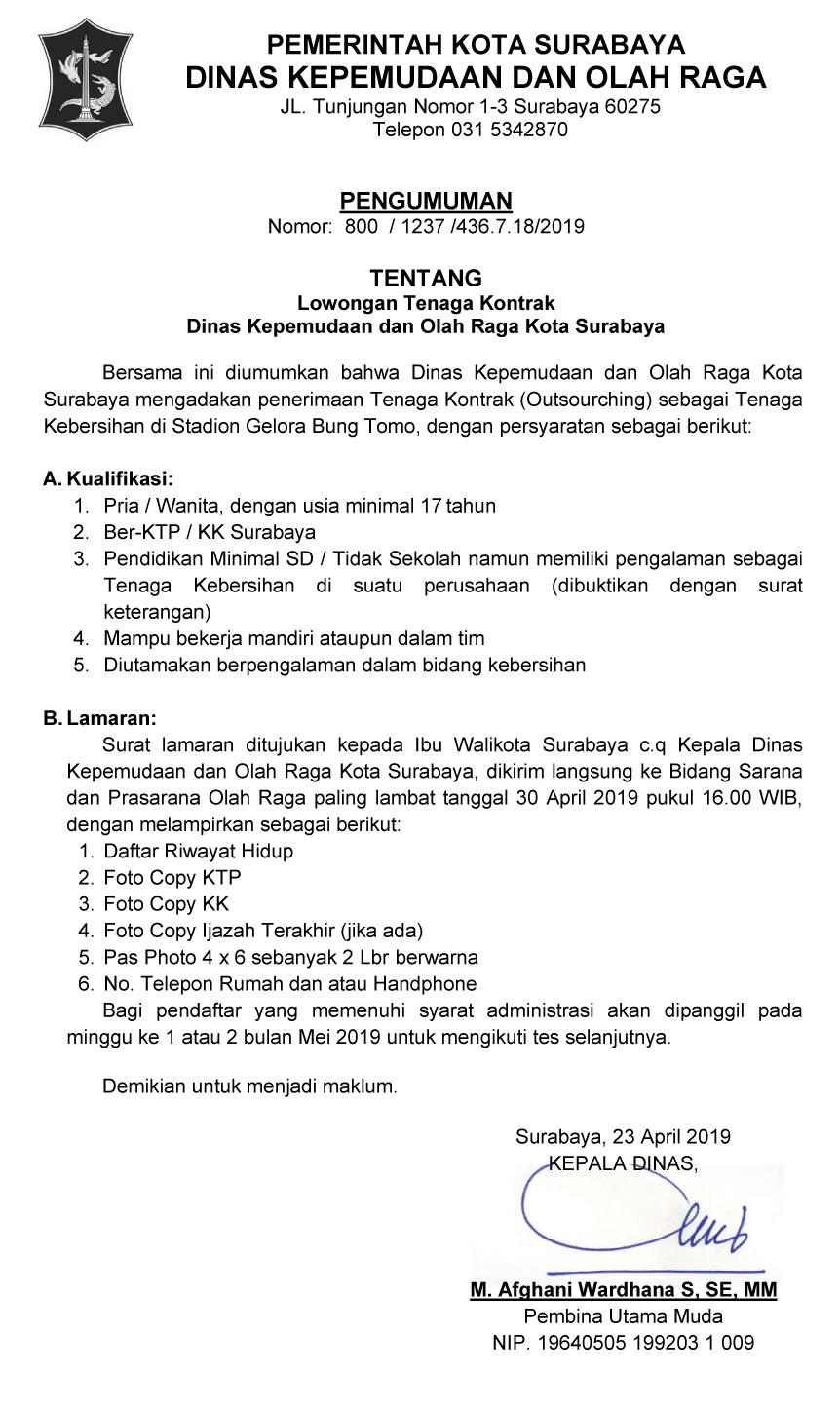 Lowongan Kerja Tenaga Kontrak Dinas Kepemudaan dan Olah Raga Kota Surabaya
