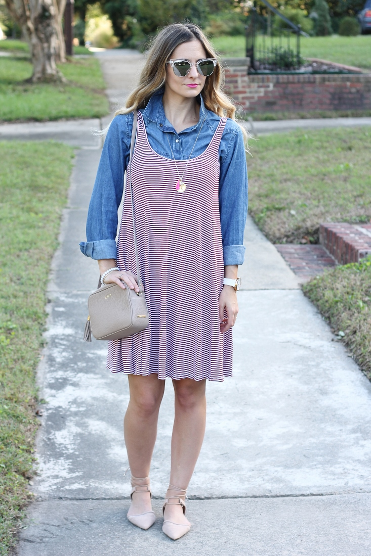 Garnet and white stripe dress with denim shirt layered underneath