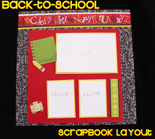 scrapbook layout idea for back to school, school days, alphabet, pencil