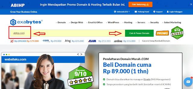Silahkan ketik domain yang mau dibeli lalu cek.