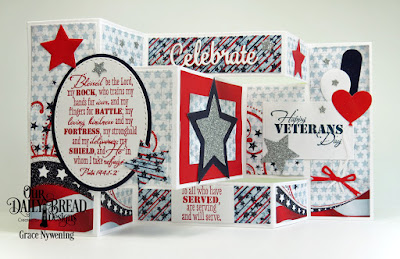 Our Daily Bread Designs Stamp Set: Remembrance, Paper Collection: Stars and Stripes, Tri-Shutter Card, Tri-Shutter Layers, Ovals, Stitched Ovals, Balloons and Streamers, Sparkling Stars, Celebrate and Wish, Circle Ornaments