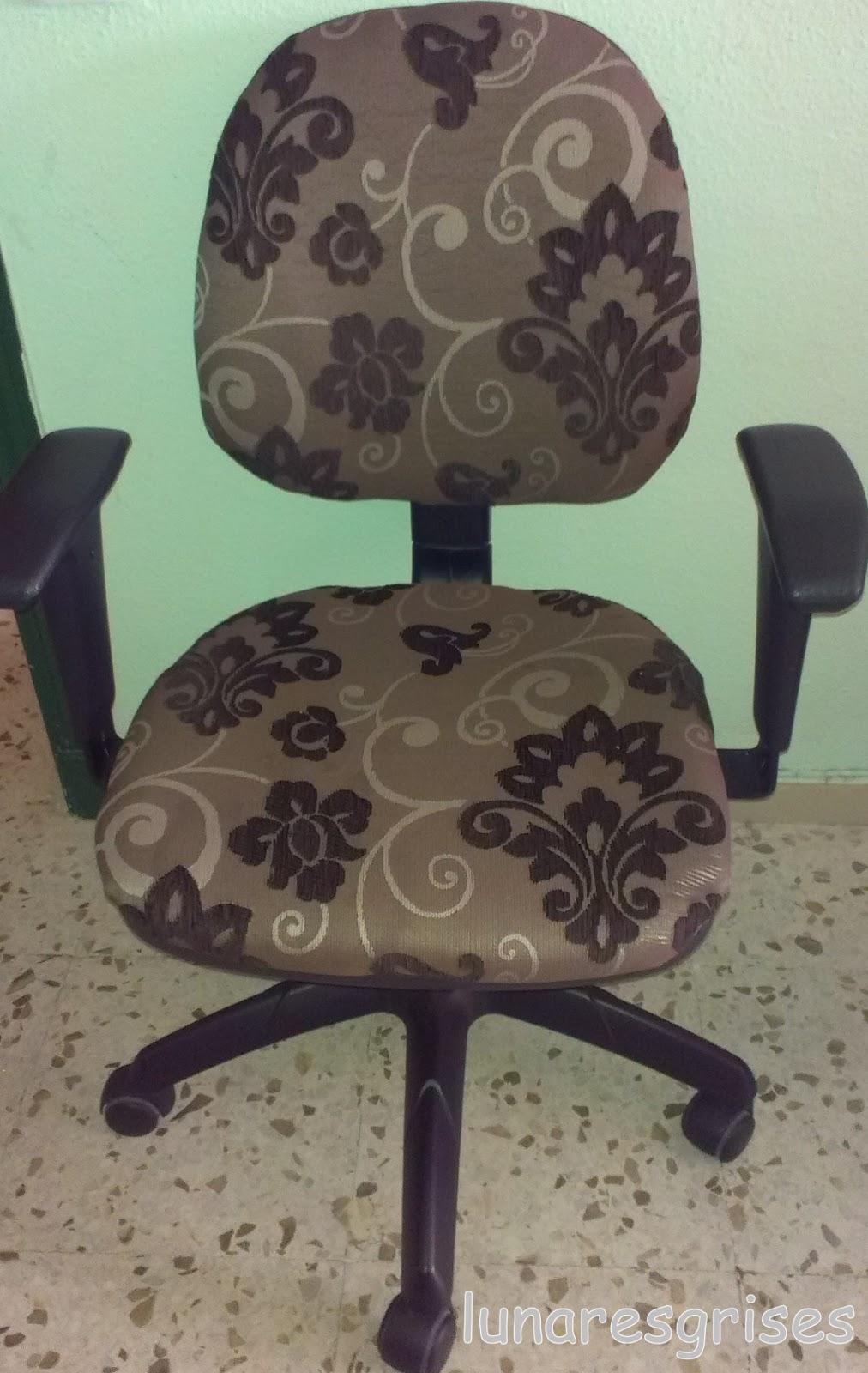 Lunares grises una nueva vida para la silla del ordenador - Tapizar una silla ...