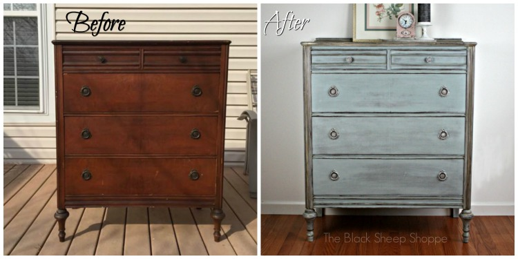 Before and After: Vintage chest of drawers.