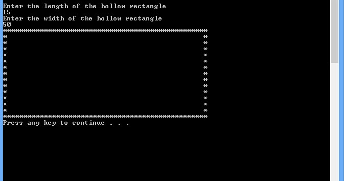 Hollow rectangle ~ Shapes in C++ - Free | C++Tutorial | Online