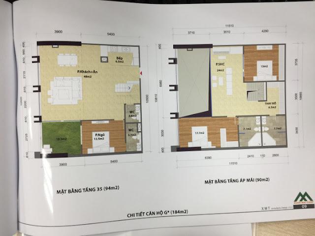Thiết kế căn hộ 184m2 loại G penthouse tòa CT1 Eco green city