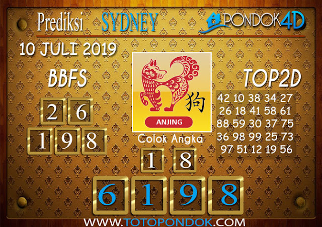 Prediksi Togel SYDNEY PONDOK4D 10 JULI 2019