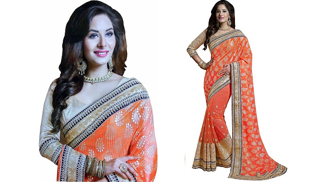 Aarti Apparels Embroidered Bollywood Chiffon, Net Saree  (Multicolor)