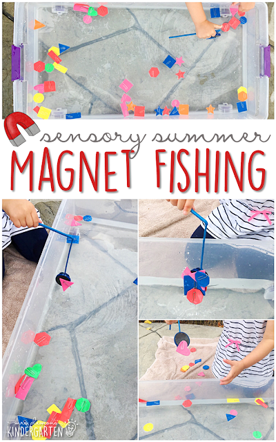 This summer go fishing for shapes with this sensory bin! This is the perfect outdoor activity for summer tot school, preschool, or kindergarten!
