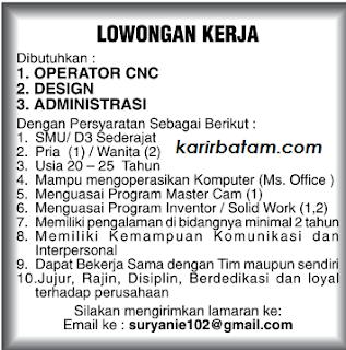 Lowongan Kerja Operator CNC dan Administrasi