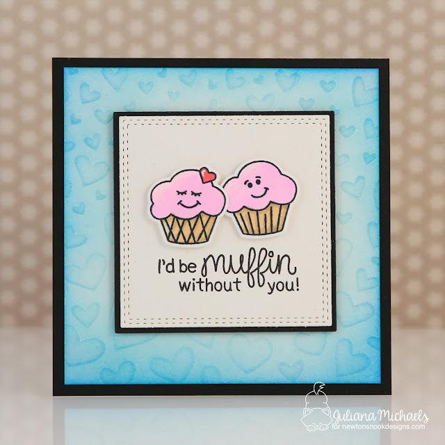 Muffin You Mini Valentine Card by Juliana Michaels featuring Newton's Nook Designs Love Bites Stamp Set and Tumbling Hearts Stencil