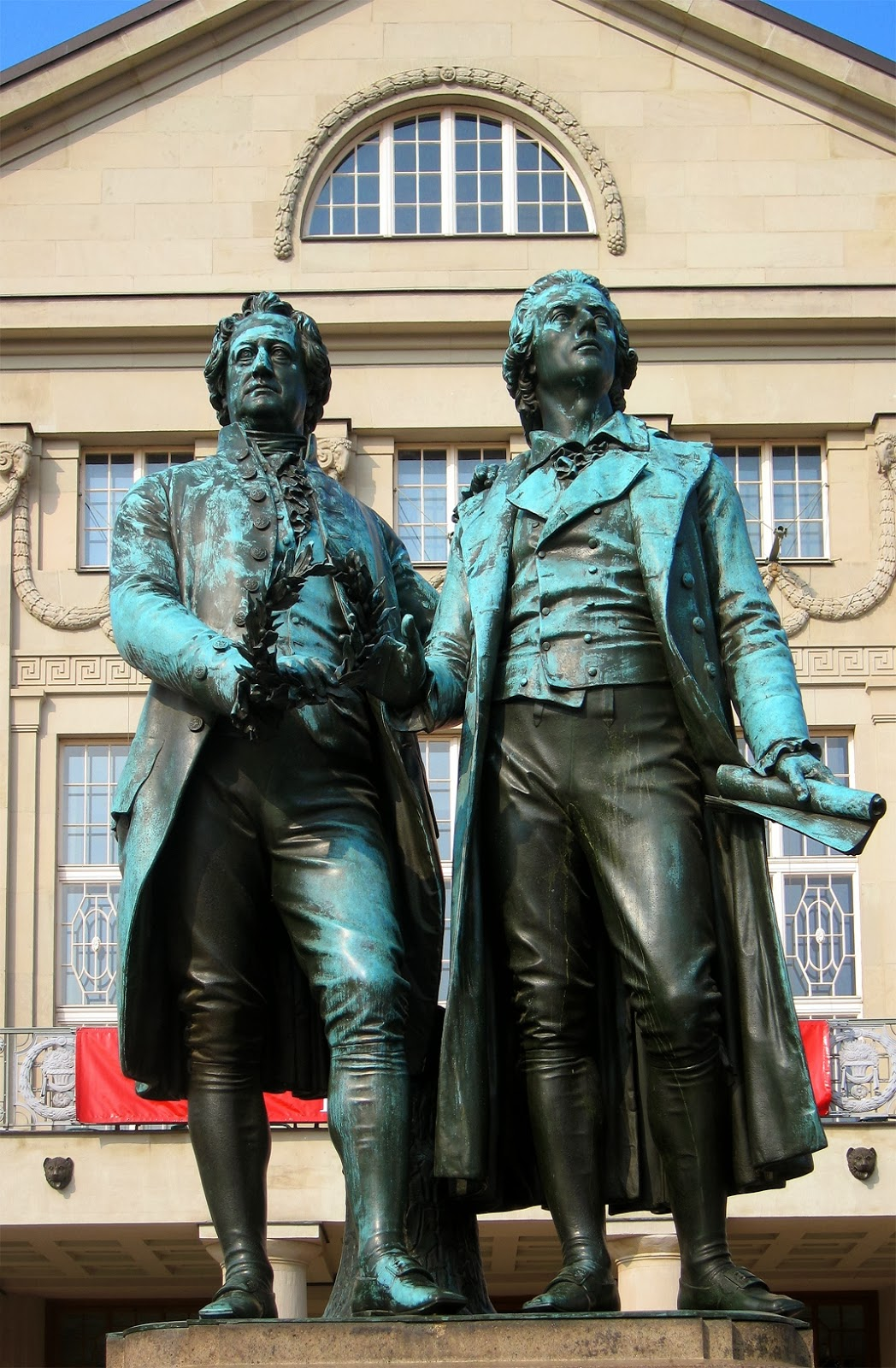 The Goethe and Schiller statue in Weimar