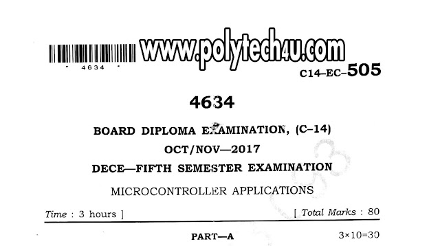 DIPLOMA MICROCONTROLLER APPLICATIONS OLD QUESTION PAPER C-14 2017