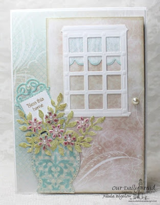 Our Daily Bread Designs, Home Sweet Home, Flower Box Fillers Dies, Window Shuter and Awnings Dies, Wecloming Window Dies, Fancy Foliage Dies, Vintage Flourish Pattern Dies, Decorative Vase Die, Blushing Rose Collection, Shabby Rose Collection, Designed by Paula Bigelow