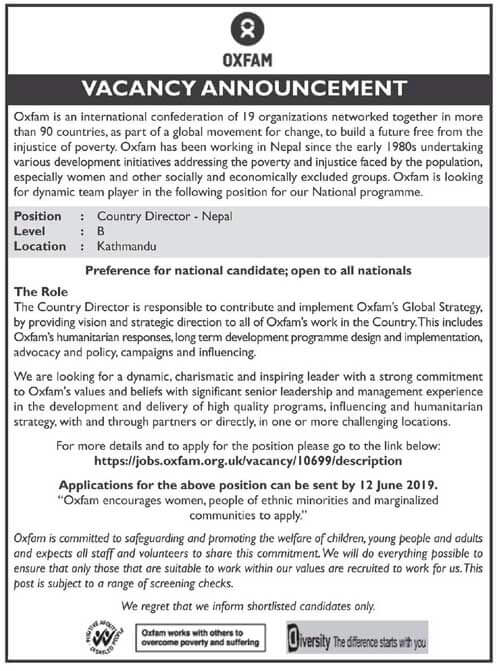 Vacancy Announcement from Oxfam Nepal
