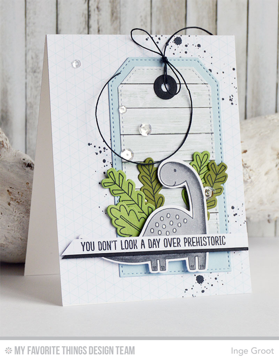 Prehistoric Card by Inge Groot featuring the Distressed Patterns stamp set, the Prehistoric Fun stamp set and Die-namics and the Stitched Traditional Tag STAX Die-namics #mftstamps
