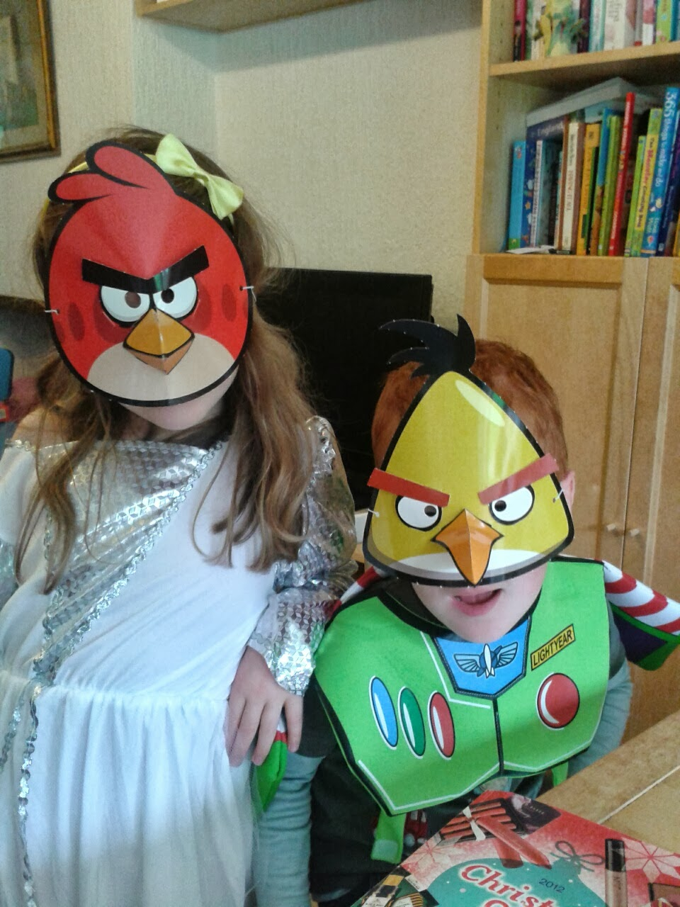 Caitlin & Ieuan in their Angry Birds masks