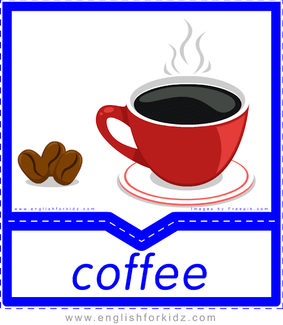 Coffee - English food and drinks flashcards for ESL students