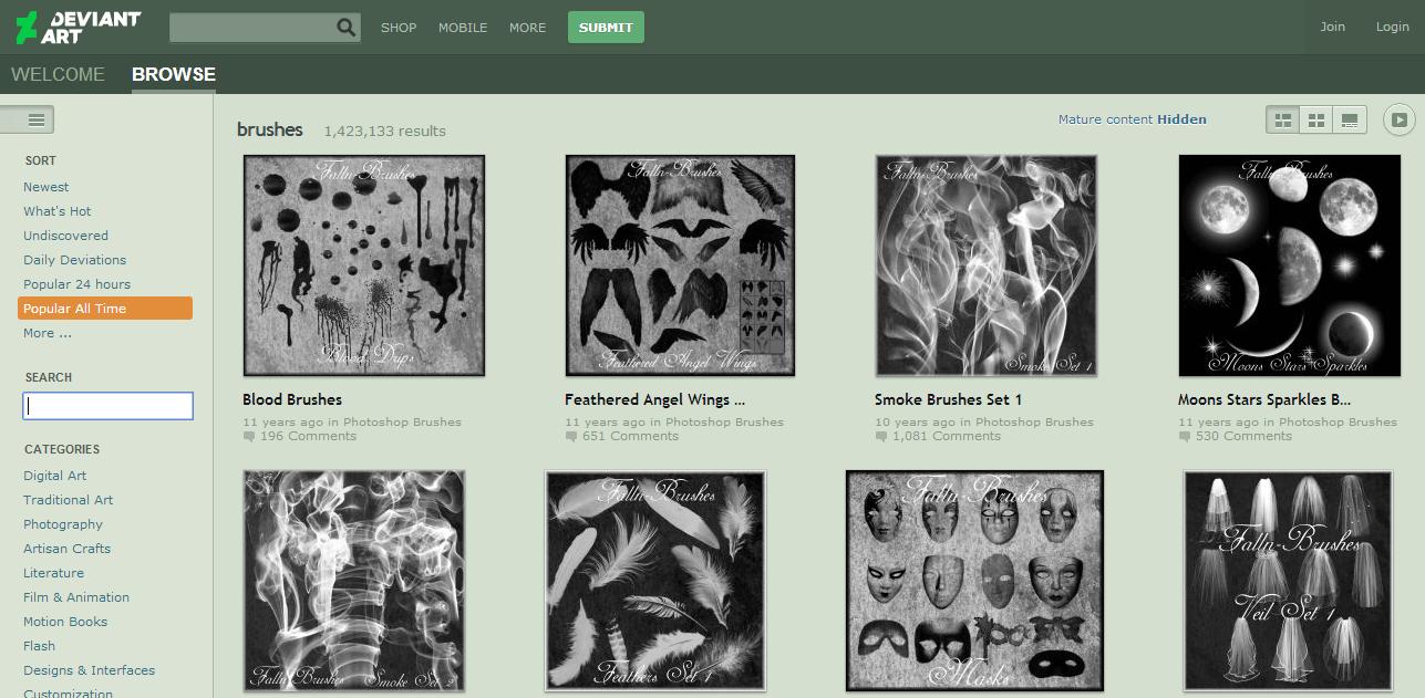 Situs untuk Download Brush PhotoShop Terbaik Gratis