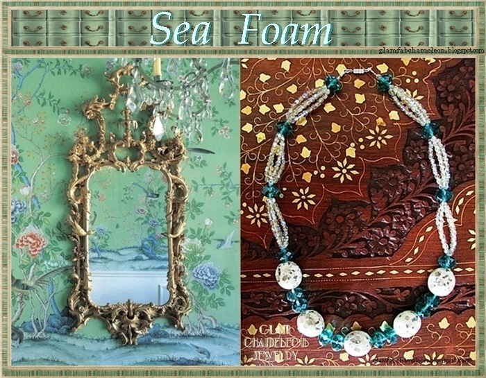 Glam Chameleon Jewelry sesam jasper green crystals necklace