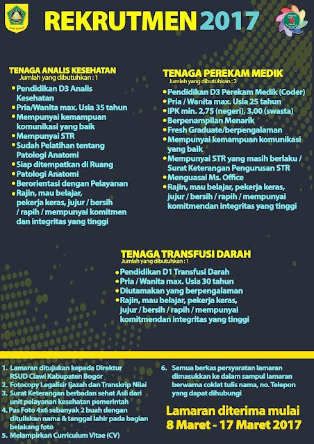 Lowongan Kerja RSUD Ciawi Kabupaten Bogor Maret 2017 (Fresh Graduate/ Experience)