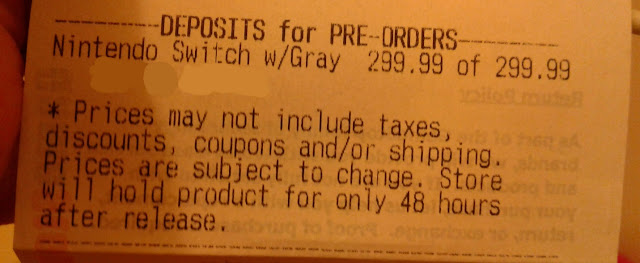 Nintendo Switch Deposits for Pre-Orders slip receipt Gray 299.99