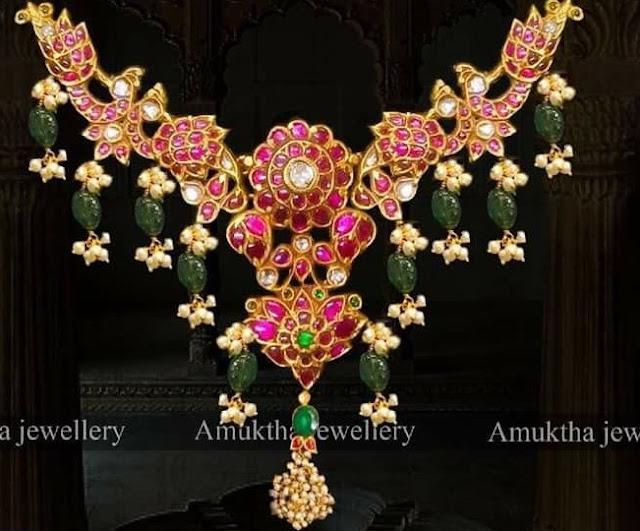 Kundan Peacock Necklace by Amuktha Jewellery