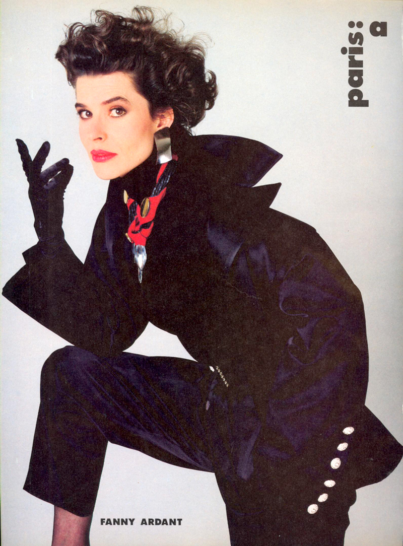 Fanny Ardant wearing Yves Saint Laurent in Vogue US July 1985 via www.fashionebylove.co.uk