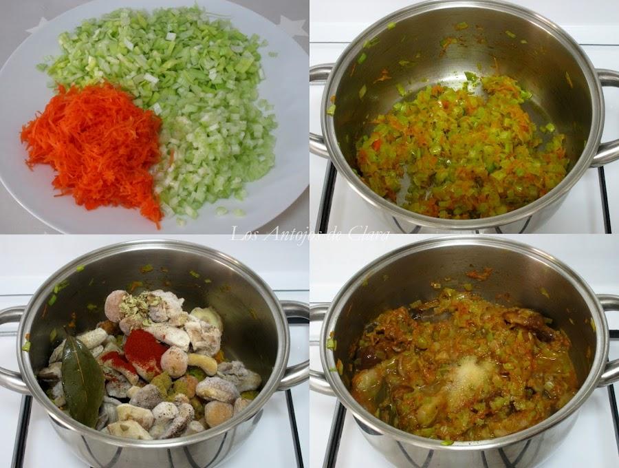 Preparación arroz meloso con setas y verduras