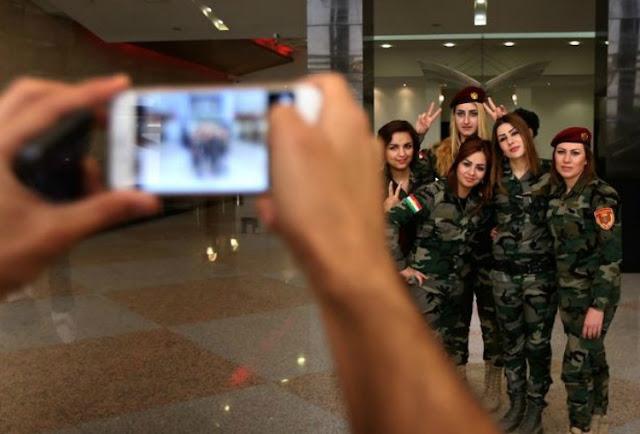 Kurdistan Peshmerga Kurdish Women Fighter ready to fight ISIS terrorists fighting terrorism for freedom