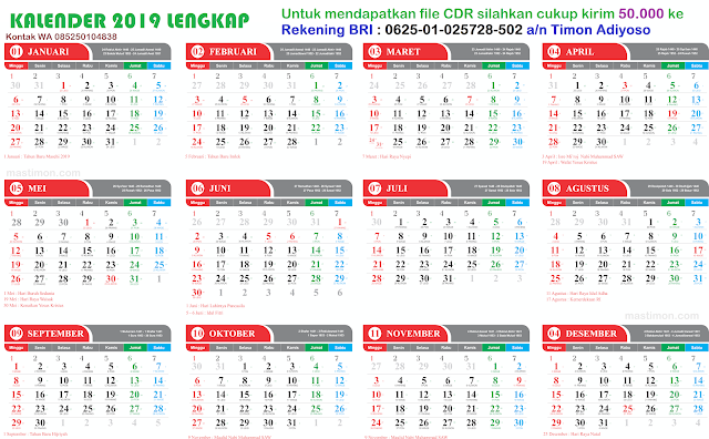 Download Kalender 2019 Psd Free