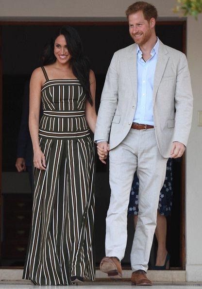 Meghan Markle wore Martin Grant pleated stripe long dress