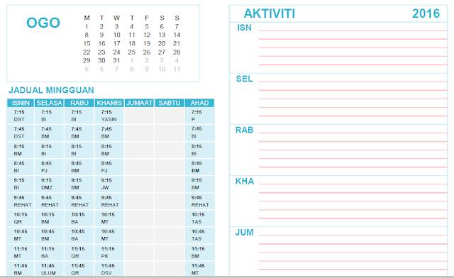 Kalendar Pelajar Sekolah Rendah Tahun 1 Microsoft Excel