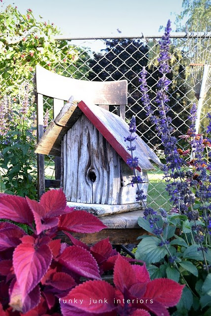 Birdhouse in garden / part of summer garden reveal on FunkyJunkInteriors.net